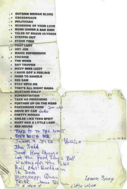 Kerim Çaplı Band - Şarkı Listesi- 2001 (Kerim Çaplının kendi elyazısıyla...)
